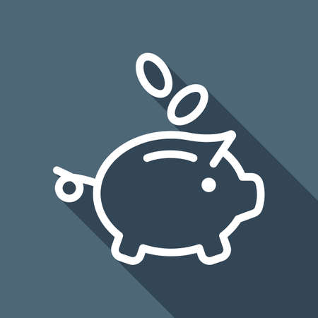 Piggy bank, dollar coins. Business icon. White flat icon with long shadow on background Illustration
