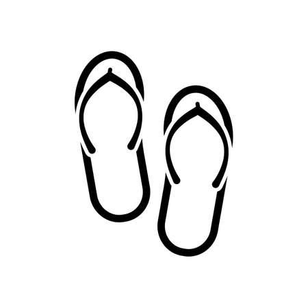 Beach slippers. Flip flops icon. Black on white background