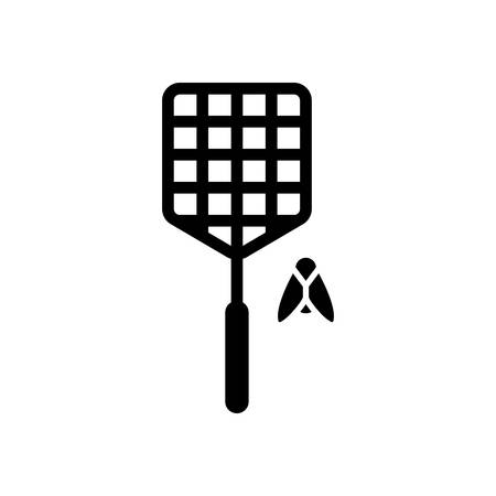Fly swatter and insect. Simple icon. Black on white background Illustration