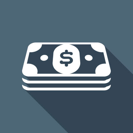 Pack of dollar money or vouchers. Business icon. White flat icon with long shadow on background