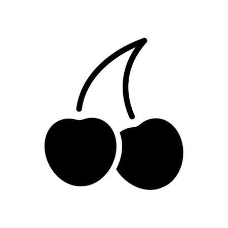 Sagoma di ciliegia, icona della natura. Nero su sfondo bianco Vettoriali