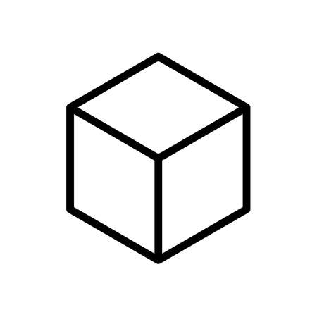 Geometric empty cube. Simple outline icon. Black on white background Ilustração
