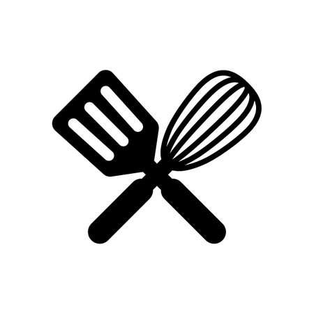 Küchenwerkzeug-Symbol. Schneebesen und Spatel, kreuzen und kreuzen. Schwarz auf weißem Hintergrund