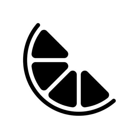 Halbe Zitrone oder Orange. Einfaches Symbol. Schwarz auf weißem Hintergrund