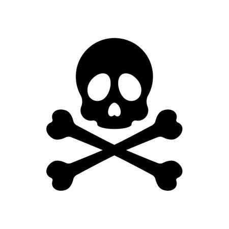 Skull and crossed bones. Simple icon. Black on white background