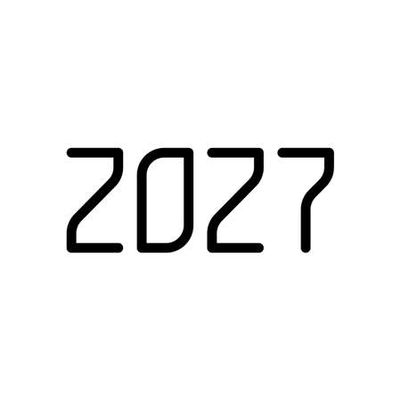 2027 number icon. Happy New Year. Black on white background