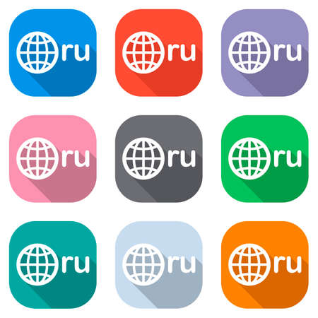 domain of Russia, globe and ru. Set of white icons on colored squares for applications. Seamless and pattern for poster