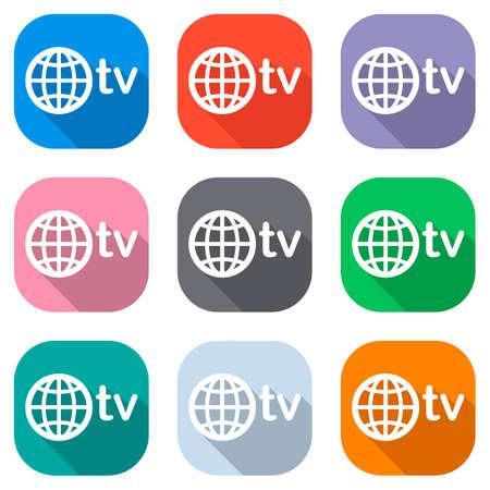 dominio para medios y television, globo y tv. Conjunto de iconos blancos en cuadrados de colores para aplicaciones. Sin fisuras y patrón para cartel
