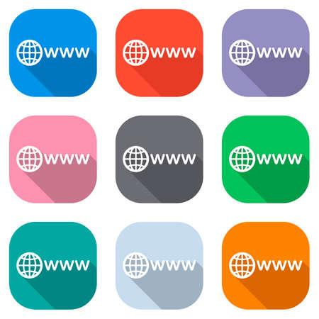 simbolo di internet con globo e www. Set di icone bianche su quadrati colorati per le applicazioni. Senza soluzione di continuità e modello per poster Vettoriali