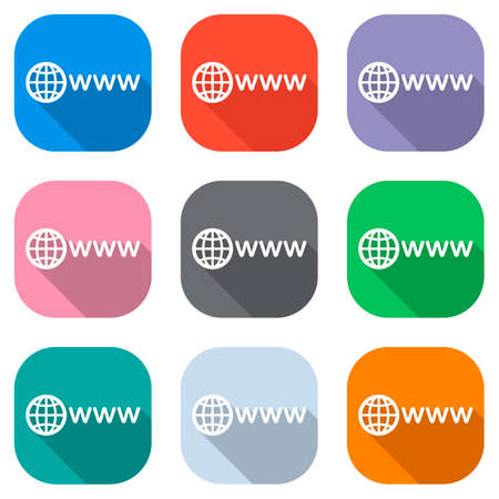 symbol of internet with globe and www. Set of white icons on colored squares for applications. Seamless and pattern for poster