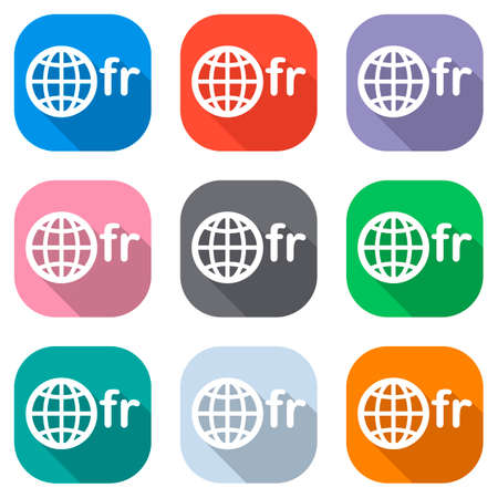 domain of France, globe and fr. Set of white icons on colored squares for applications. Seamless and pattern for poster