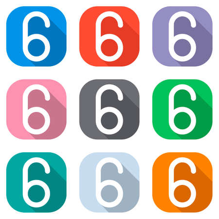 Number six, numeral, simple letter. Set of white icons on colored squares for applications. Seamless and pattern for poster Ilustração
