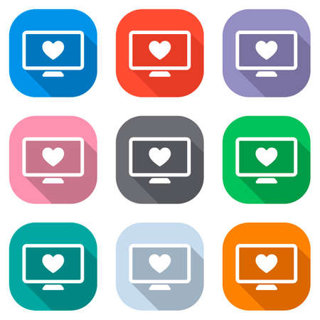 computer and heard. simple icon. Set of white icons on colored squares for applications. Seamless and pattern for poster