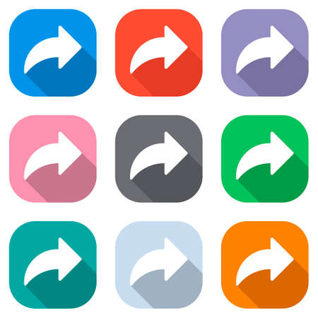 Share icon with arrow. Set of white icons on colored squares for applications. Seamless and pattern for poster