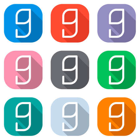 Number 9, numeral, ninth. Set of white icons on colored squares for applications. Seamless and pattern for poster