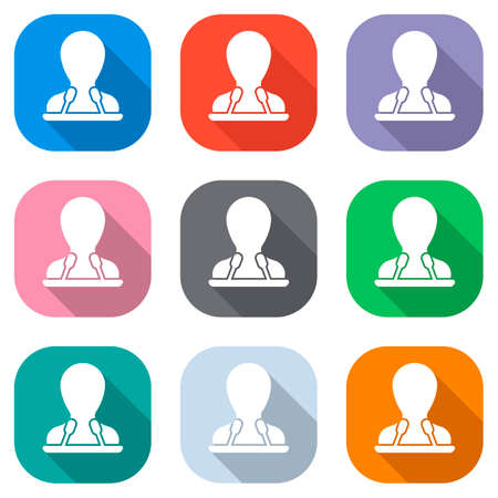 Speaker icon. Person silhouette and microphones on tribune. Set of white icons on colored squares for applications. Seamless and pattern for poster