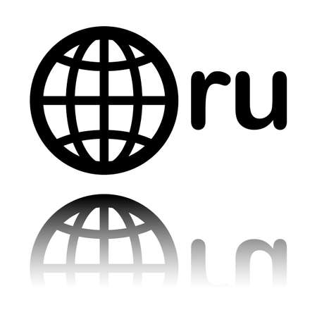 domain of Russia, globe and ru. Black icon with mirror reflection on white background