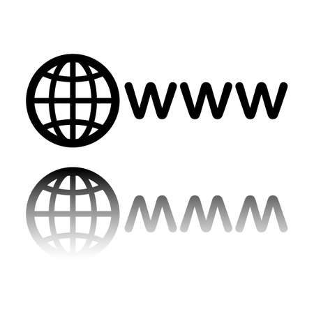 symbol of internet with globe and www. Black icon with mirror reflection on white background