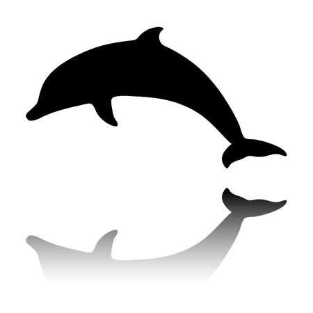 silhouette of dolphin. Black icon with mirror reflection on white background