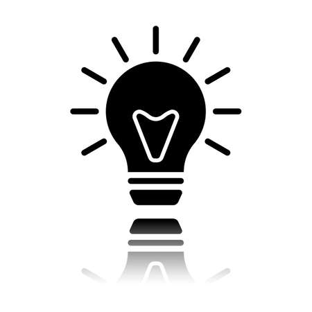 old bulb with light. simple single icon. Black icon with mirror reflection on white background