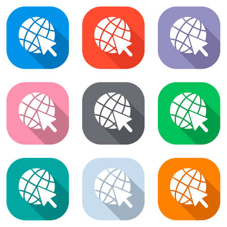 Globe and arrow icon. Set of white icons on colored squares for applications. Seamless and pattern for poster