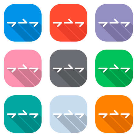 Few arrows, same direction. Linear, thin outline. Set of white icons on colored squares for applications. Seamless and pattern for poster