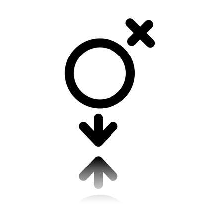 gender symbol. linear symbol. simple transgender icon. Black icon with mirror reflection on white background