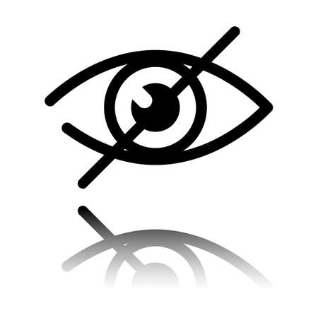 dont look, crossed out eye. simple icon. Black icon with mirror reflection on white background