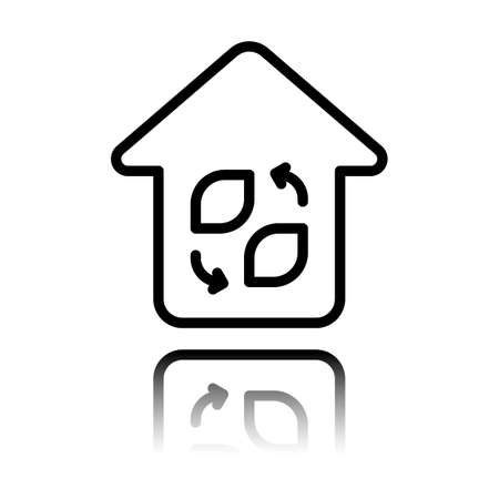 Eco house. Concept logo. Simple linear icon with thin outline. Black icon with mirror reflection on white background