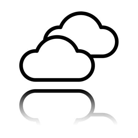 Mostly cloudy icon. Simple linear icon with thin outline. Black icon with mirror reflection on white background