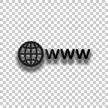 symbol of internet with globe and www. Black glass icon with soft shadow on transparent background Illustration