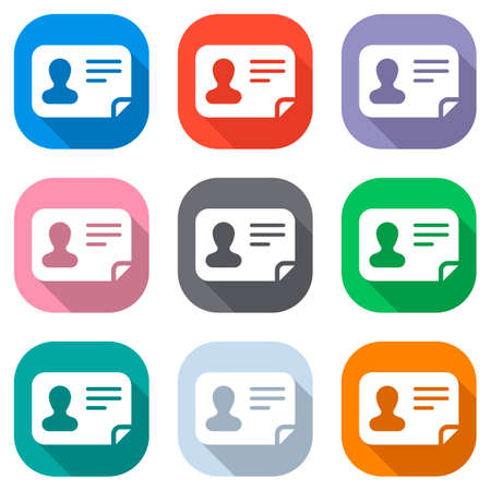 Identification card icon. ID profile. Set of white icons on colored squares for applications. Seamless and pattern for poster 일러스트