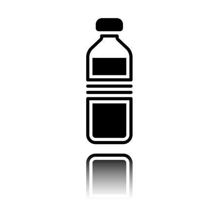 bottle of water, simple icon. Black icon with mirror reflection on white background