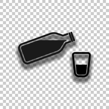 bottle of water with bubbles and glass cup. simple icon. Black glass icon with soft shadow on transparent background Ilustração