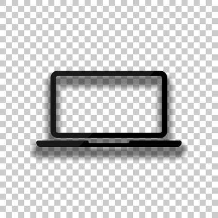 Laptop or notebook computer icon. Black glass icon with soft shadow on transparent background
