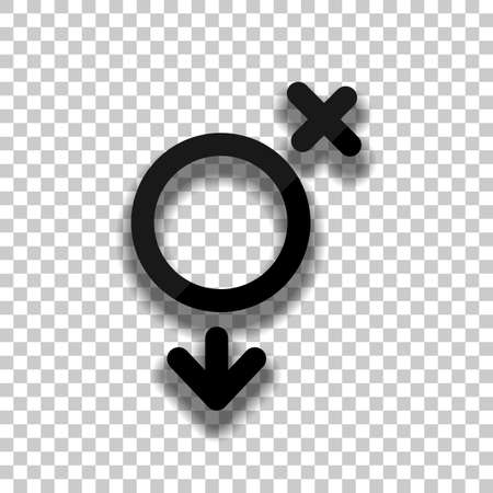 gender symbol. linear symbol. simple transgender icon. Black glass icon with soft shadow on transparent background