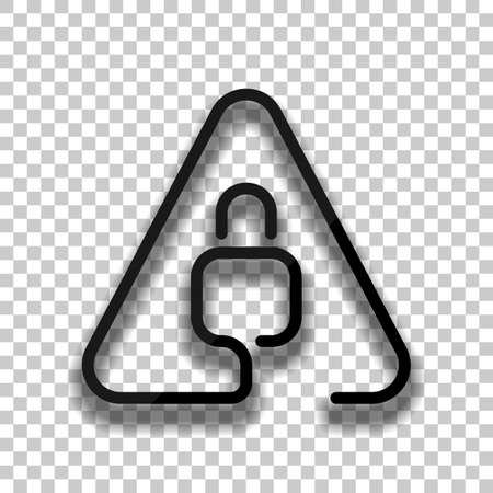 Lock in warning triangle. Linear icon with thin outline. One line style. Black glass icon with soft shadow on transparent background