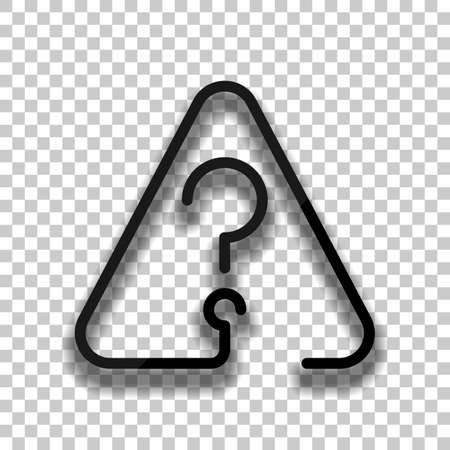 Question mark in warning triangle. Linear icon with thin outline. One line style. Black glass icon with soft shadow on transparent background