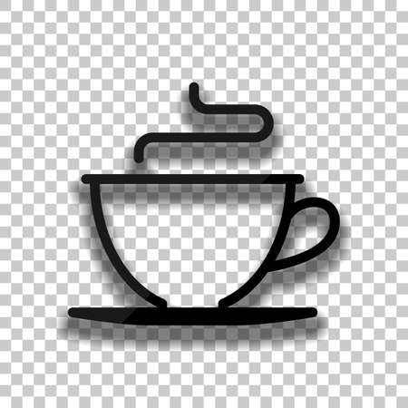 Simple cup of coffee or tea. Linear icon, thin outline. Black glass icon with soft shadow on transparent background