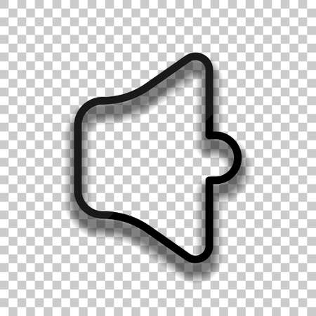 Simple volume mute. Linear, thin outline. Black glass icon with soft shadow on transparent background