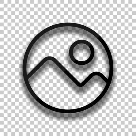 Simple picture icon. Linear symbol, thin outline. Black glass icon with soft shadow on transparent background