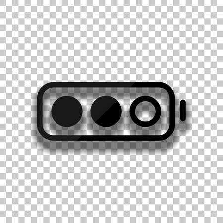Simple battery, half level. Black glass icon with soft shadow on transparent background