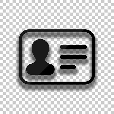 Identification card icon. ID profile. Black glass icon with soft shadow on transparent background