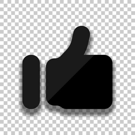 Simple like icon. Social symbol. Black glass icon with soft shadow on transparent background Banque d'images - 109973659