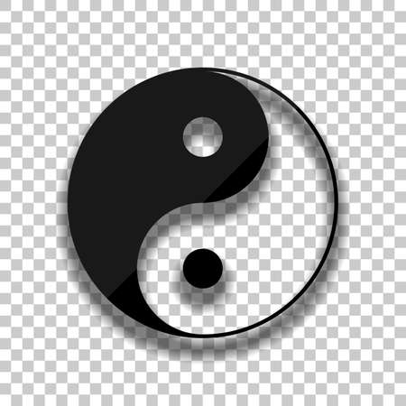 yin yan symbol. Black glass icon with soft shadow on transparent background