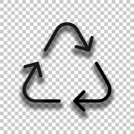Icône de recyclage ou de réutilisation. Flèches minces, style linéaire. Icône de verre noir avec une ombre douce sur fond transparent Vecteurs