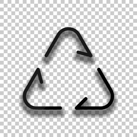 Recycle or reuse icon. Thin arrows, linear style. Black glass icon with soft shadow on transparent background Vettoriali