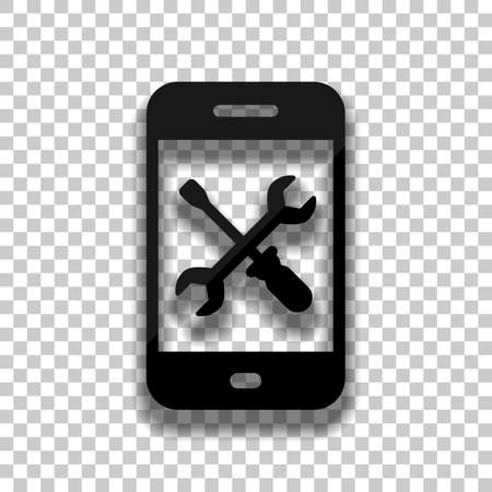 Phone repair service icon. Black glass icon with soft shadow on transparent background