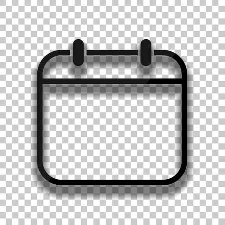 Simple calendar, Linear, thin outline. Black glass icon with soft shadow on transparent background