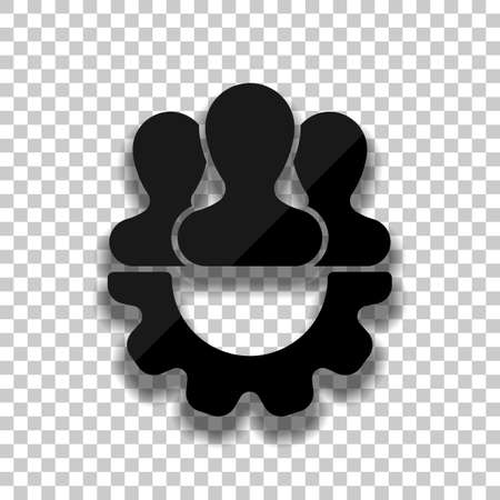 Team, technical support, few person and gear. Black glass icon with soft shadow on transparent background